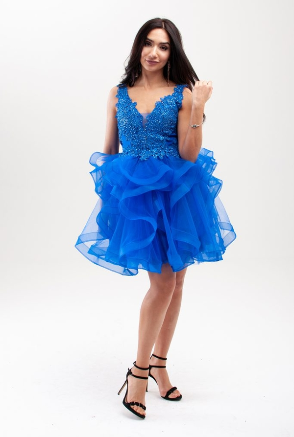 Niebieska sukienka Butik Ecru asymetryczna
