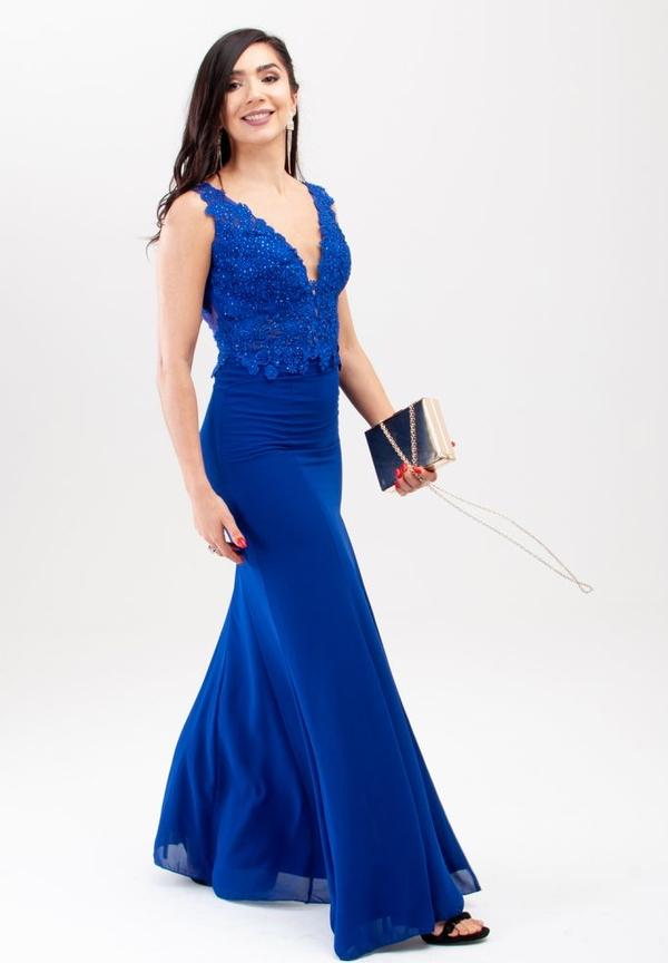 Niebieska sukienka Butik Ecru bez rękawów maxi dla puszystych