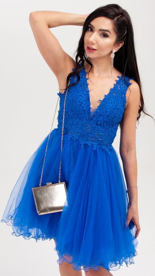 Niebieska sukienka Butik Ecru bez rękawów mini z dekoltem w kształcie litery v