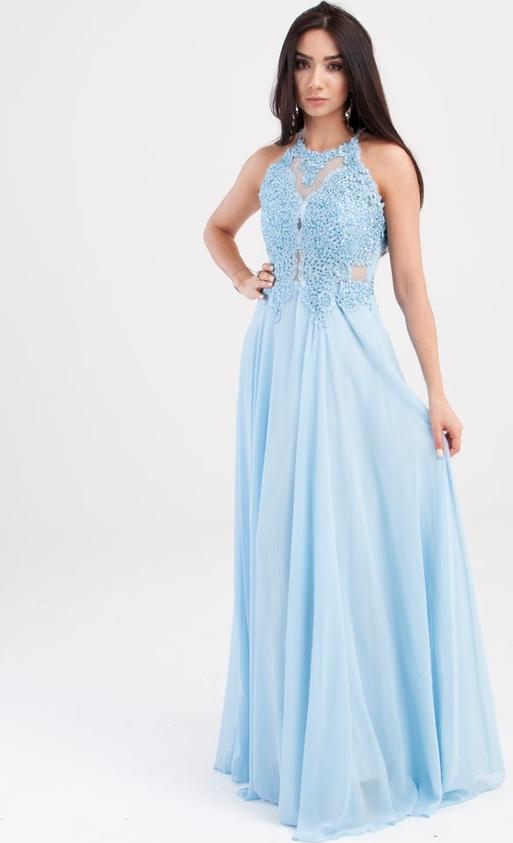 Niebieska sukienka Butik Ecru maxi z dekoltem halter