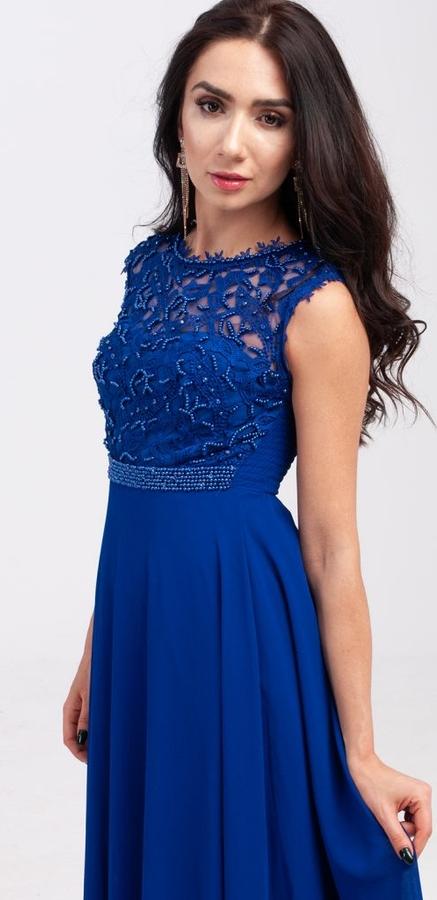 Niebieska sukienka Butik Ecru rozkloszowana