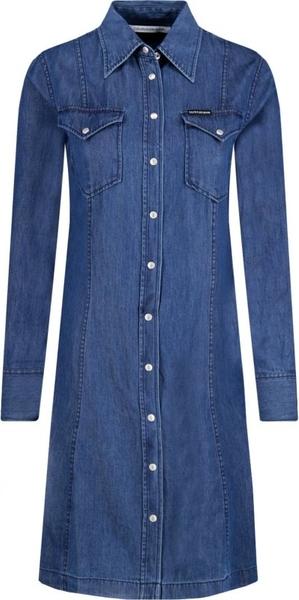Niebieska sukienka Calvin Klein midi w stylu casual koszulowa