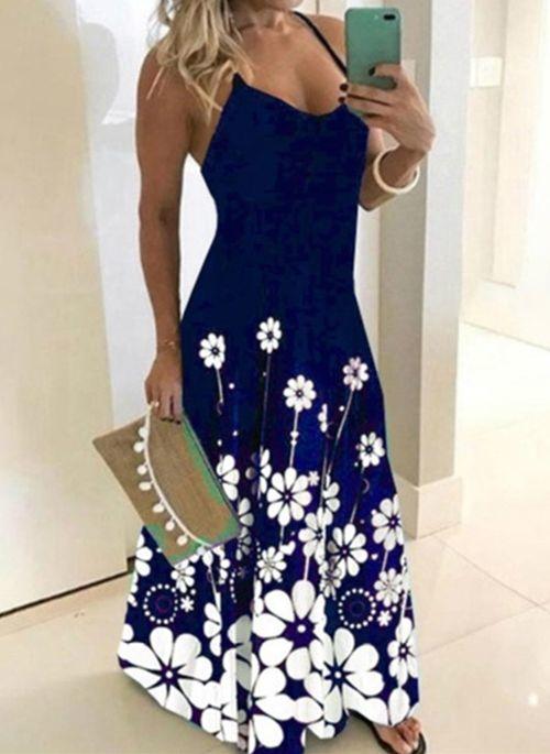 Niebieska sukienka Cikelly na ramiączkach z dekoltem w kształcie litery v maxi