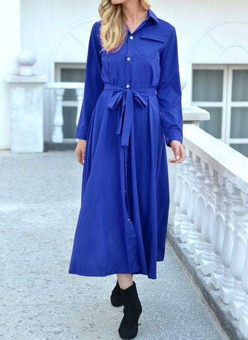 Niebieska sukienka Cikelly w stylu casual maxi z kołnierzykiem