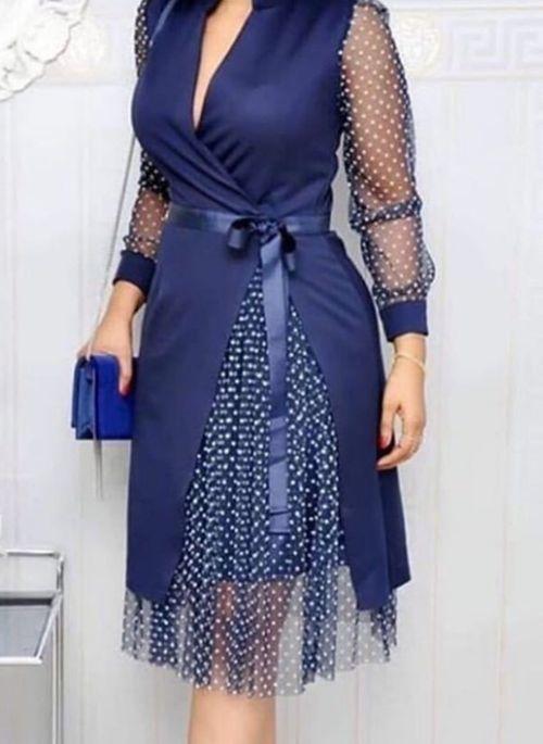 Niebieska sukienka Cikelly z długim rękawem z dekoltem w kształcie litery v