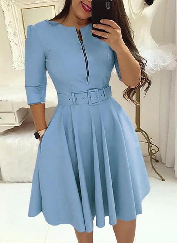 Niebieska sukienka Cikelly z długim rękawem z okrągłym dekoltem