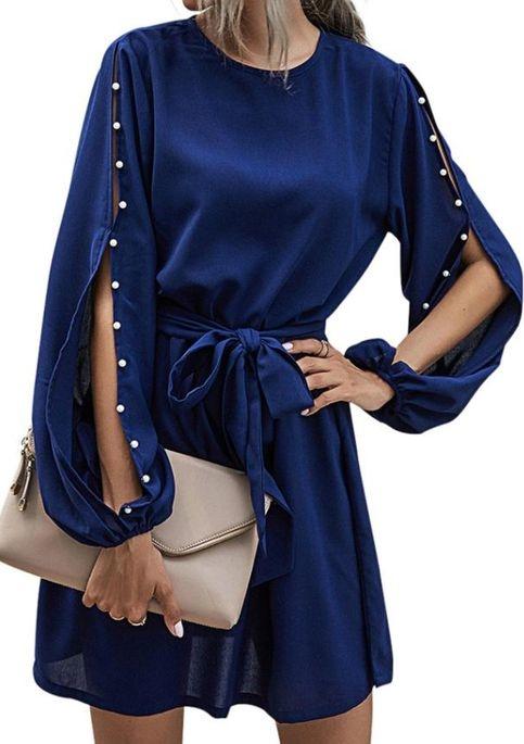 Niebieska sukienka Cikelly z okrągłym dekoltem sportowa z długim rękawem