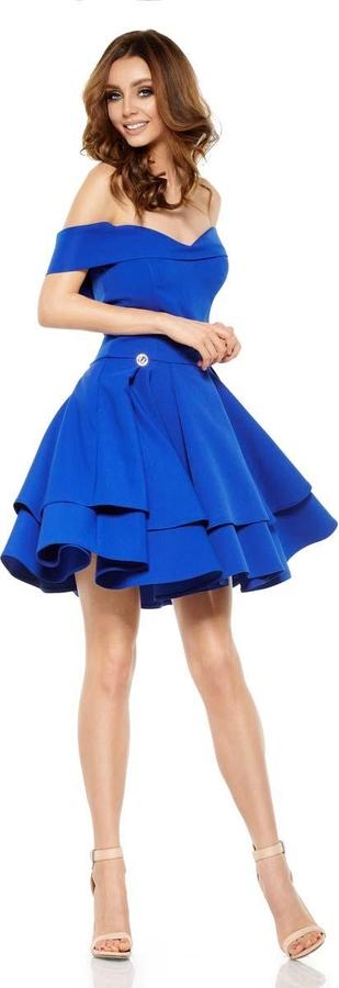 Niebieska sukienka Coco Style mini z krótkim rękawem