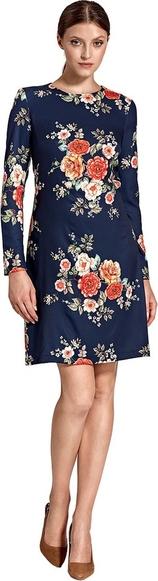 Niebieska sukienka Colett mini z długim rękawem z okrągłym dekoltem