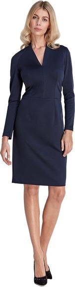 Niebieska sukienka Colett z długim rękawem z dekoltem w kształcie litery v