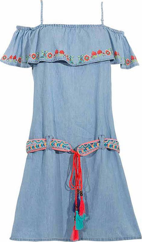 Niebieska sukienka Coline mini z bawełny