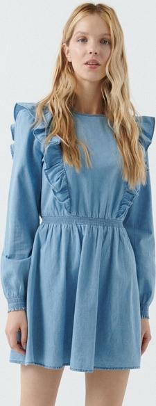 Niebieska sukienka Cropp z okrągłym dekoltem mini z jeansu