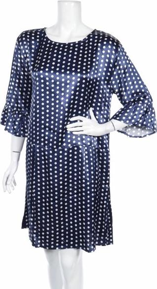 Niebieska sukienka Culture z okrągłym dekoltem z długim rękawem prosta