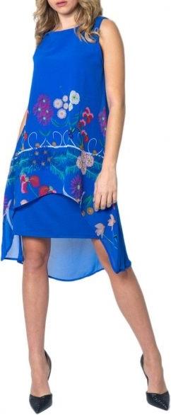 Niebieska sukienka Desigual z okrągłym dekoltem