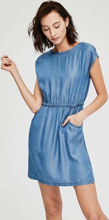 Niebieska sukienka Diverse z krótkim rękawem z okrągłym dekoltem mini