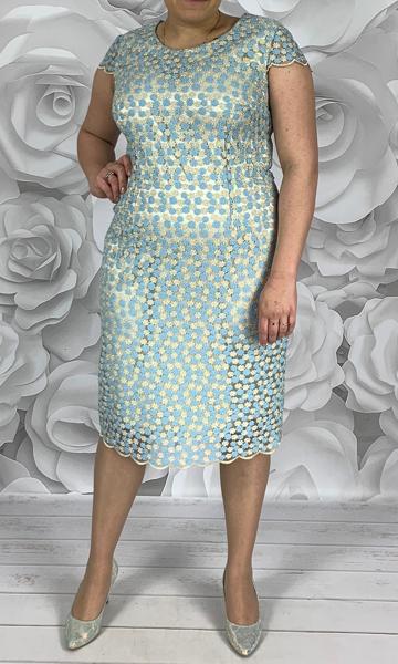 Niebieska sukienka Dorota z tkaniny z okrągłym dekoltem