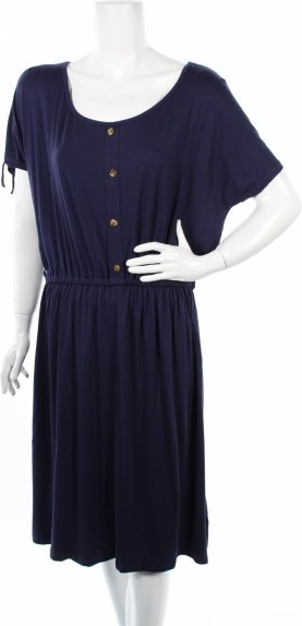Niebieska sukienka Dp mini z krótkim rękawem z okrągłym dekoltem