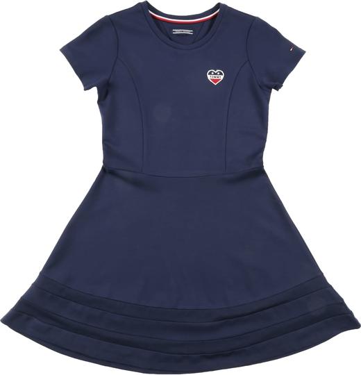 Niebieska sukienka dziewczęca Tommy Hilfiger z tkaniny