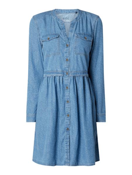 Niebieska sukienka edc by Esprit mini z jeansu w stylu casual