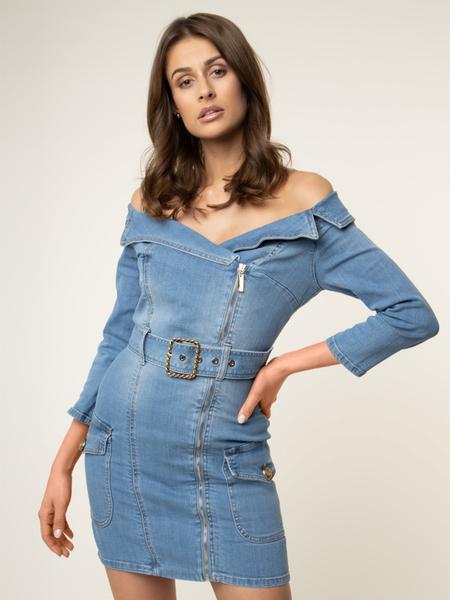 Niebieska sukienka Elisabetta Franchi z jeansu w stylu casual