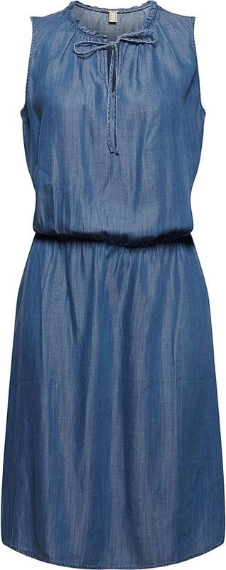 Niebieska sukienka Esprit z okrągłym dekoltem bez rękawów