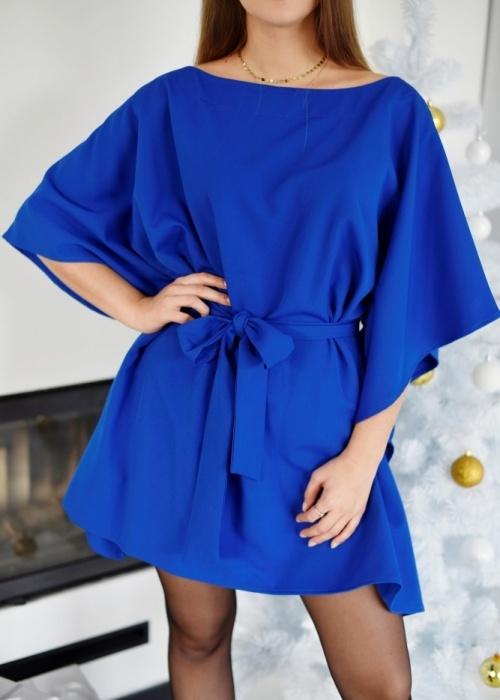 Niebieska sukienka Fason rozkloszowana z długim rękawem