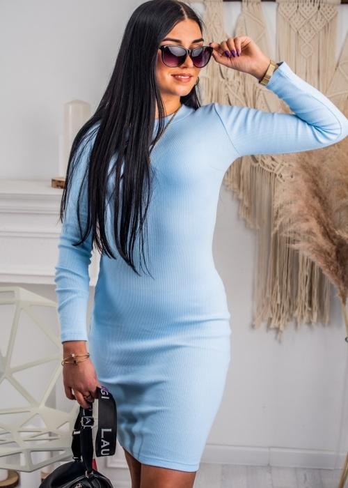 Niebieska sukienka Fason z bawełny w stylu casual mini