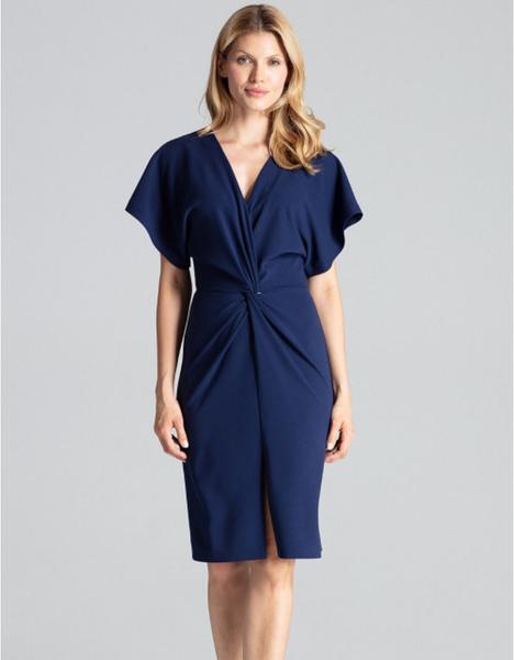 Niebieska sukienka Figl midi z krótkim rękawem