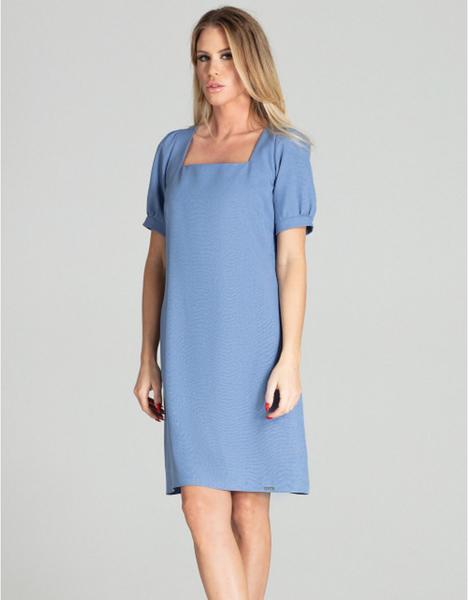 Niebieska sukienka Figl mini z krótkim rękawem