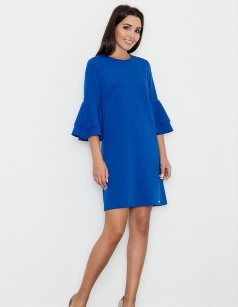 Niebieska sukienka Figl trapezowa mini