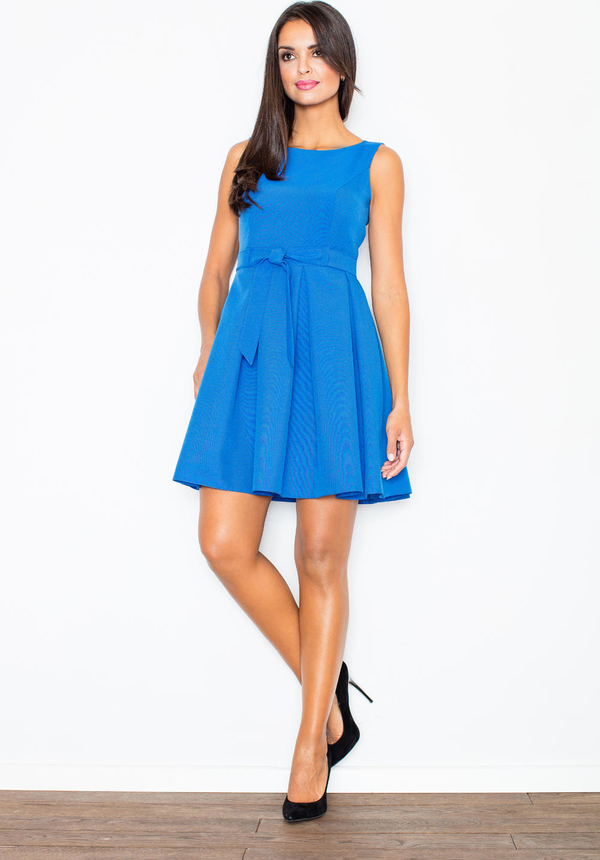 Niebieska sukienka Figl z okrągłym dekoltem bez rękawów rozkloszowana