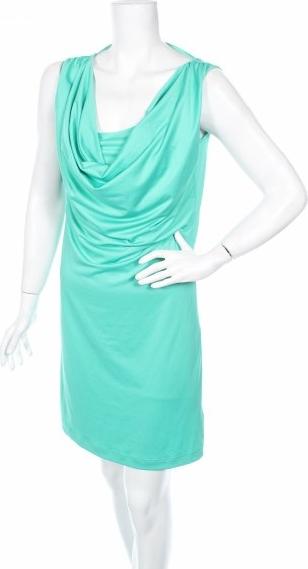 Niebieska sukienka Flame bez rękawów z dekoltem woda prosta