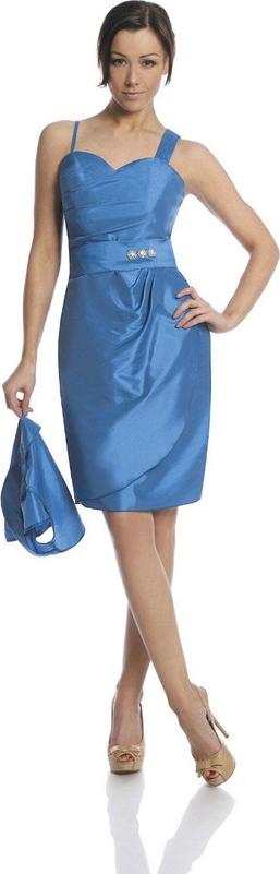 Niebieska sukienka Fokus asymetryczna z dekoltem w karo