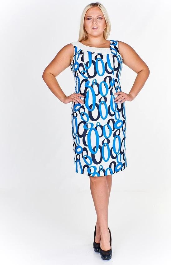 Niebieska sukienka Fokus asymetryczna z okrągłym dekoltem