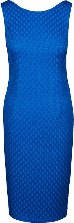 Niebieska sukienka Fokus bez rękawów w stylu klasycznym z żakardu