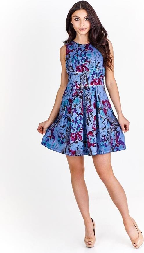 Niebieska sukienka Fokus bez rękawów z bawełny