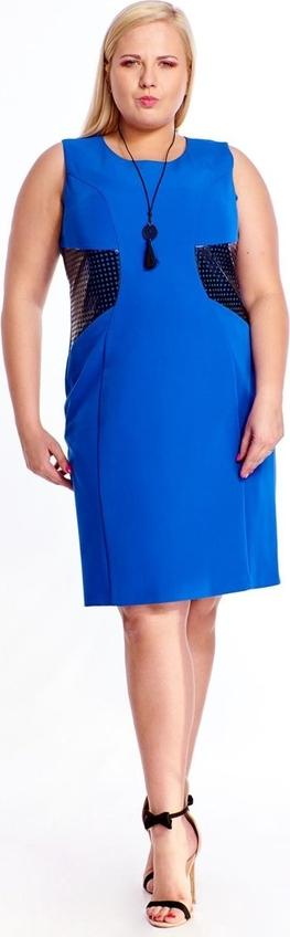 Niebieska sukienka Fokus dla puszystych midi