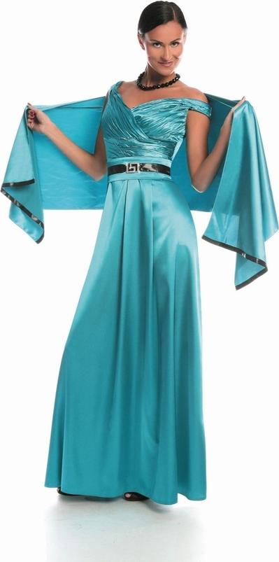 Niebieska sukienka Fokus maxi w stylu glamour z dekoltem w kształcie litery v