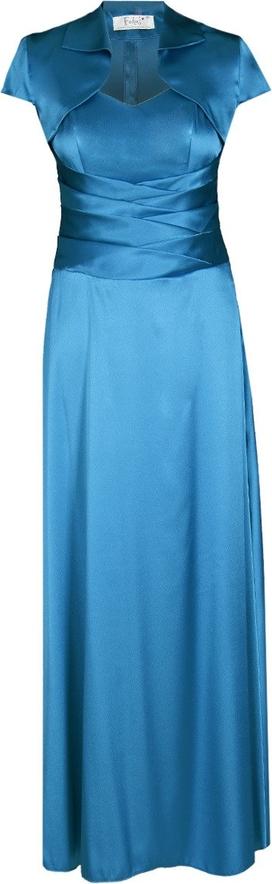 Niebieska sukienka Fokus maxi z dekoltem w kształcie litery v