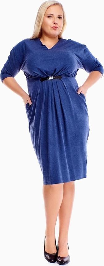 Niebieska sukienka Fokus midi dla puszystych z długim rękawem