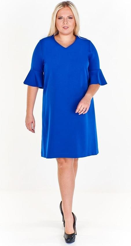 Niebieska sukienka Fokus midi z długim rękawem