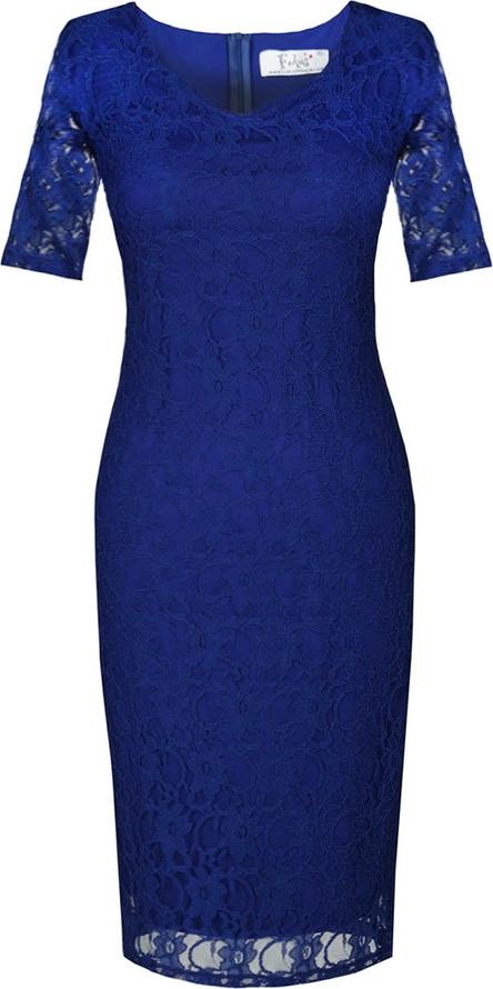Niebieska sukienka Fokus midi z krótkim rękawem z okrągłym dekoltem