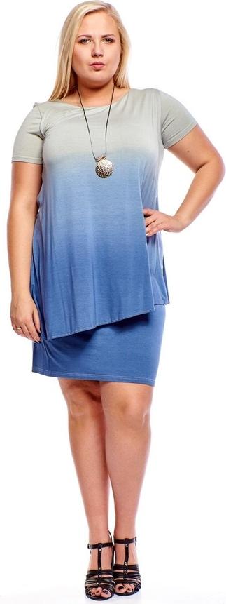Niebieska sukienka Fokus mini z okrągłym dekoltem w stylu casual