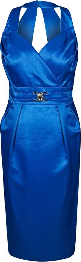 Niebieska sukienka Fokus ołówkowa z dekoltem w kształcie litery v