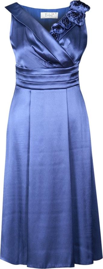 Niebieska sukienka Fokus rozkloszowana