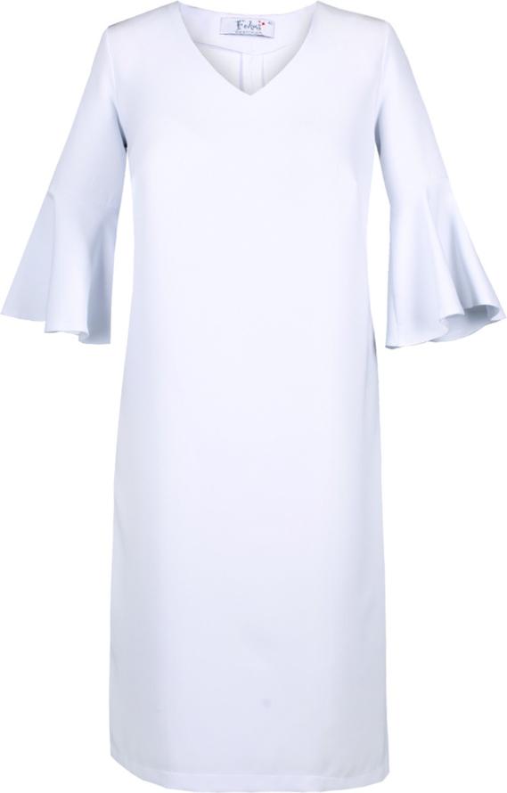 Niebieska sukienka Fokus trapezowa z długim rękawem