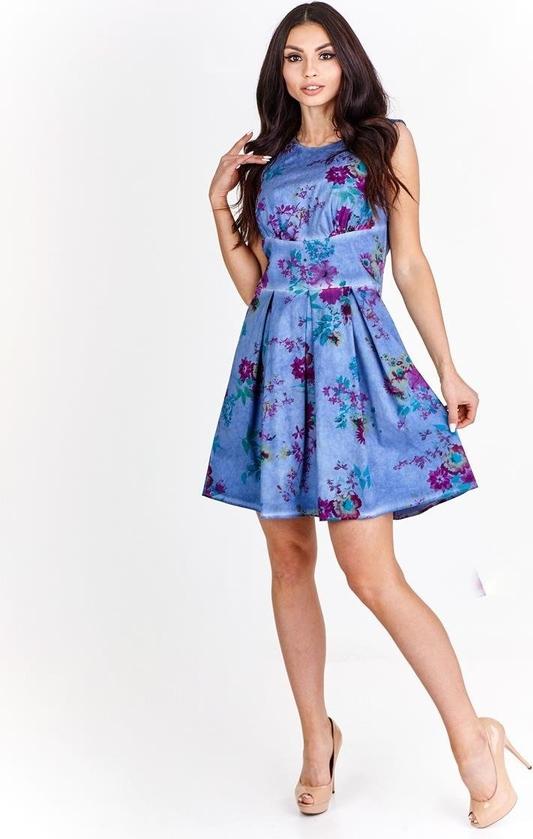 Niebieska sukienka Fokus z bawełny rozkloszowana