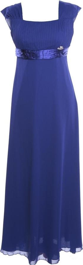 Niebieska sukienka Fokus z dekoltem w karo
