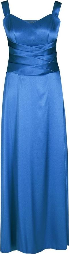 Niebieska sukienka Fokus z dekoltem w kształcie litery v na ramiączkach maxi