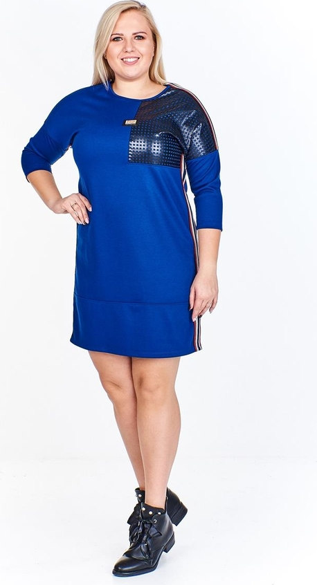 Niebieska sukienka Fokus z długim rękawem ze skóry ekologicznej w sportowym stylu